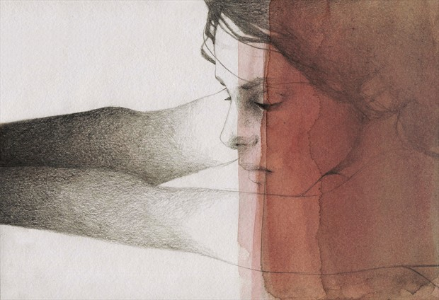 Dark pool Expressive Portrait Artwork by Artist Elia Fern%C3%A1ndez