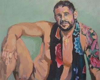 David with Chakra Scarf Artistic Nude Artwork by Artist paulryb