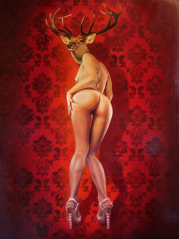 Deer Girl Artistic Nude Artwork by Artist wreckage