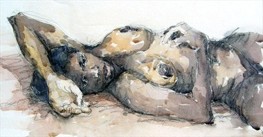 Denise reclining with arm above head Artistic Nude Artwork by Artist Roger Burnett