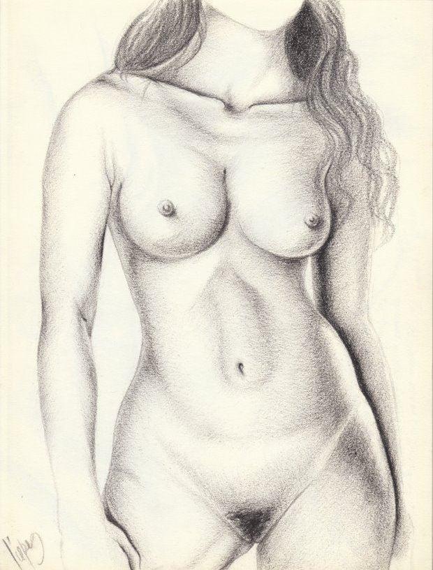Desnudo de pie frontal Artistic Nude Artwork by Artist Luis Carlos