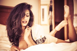 Devi in Bed Lingerie Photo by Photographer jody frost