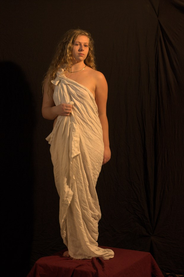 Draped Model in Classical Pose Artistic Nude Photo by Photographer Fred Scholpp Photo