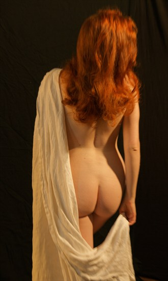 Draped Redhead from Behind. Artistic Nude Photo by Photographer Fred Scholpp Photo