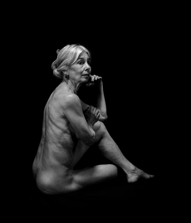Elderly Woman Sitting Artistic Nude Photo by Photographer Jyves