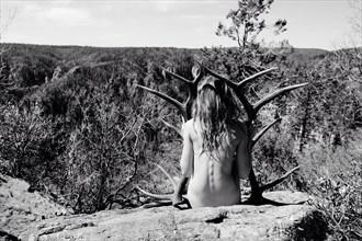 Elk Antlers in the Vast Expanse Artistic Nude Photo by Model California Kaela