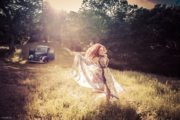 Emanuela and Blue Truck Vintage Style Photo by Photographer jody frost