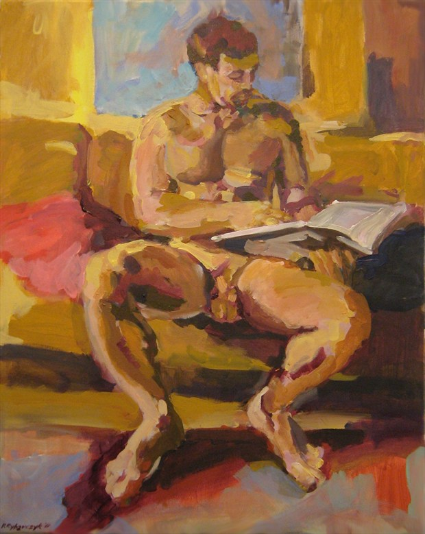 Engrossed Reader Artistic Nude Artwork by Artist paulryb