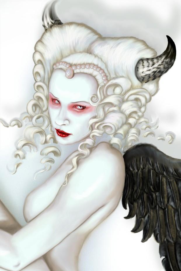 Fallen Angel Artistic Nude Artwork by Artist Shayne of the Dead
