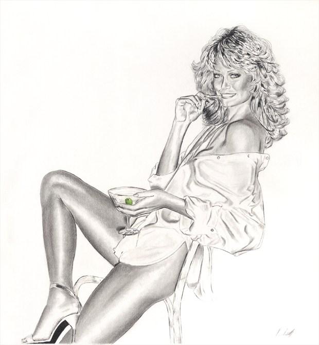 Farrah Fawcett Pinup Artwork by Artist Vincent_Wolff_Art