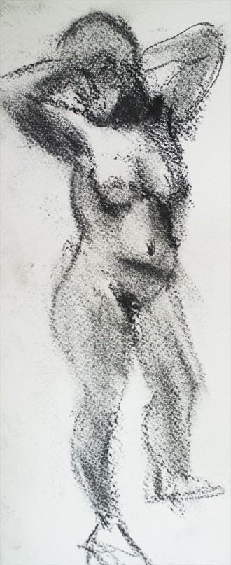Female Model, Elbows High Artistic Nude Artwork by Artist Ciaran Taylor