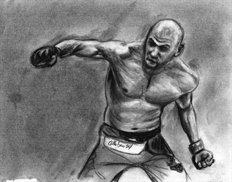 Fighter in Charcoal Figure Study Artwork by Artist AnthonyNelsonArt