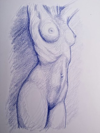 Figure Sketch Artistic Nude Artwork by Artist AnthonyNelsonArt