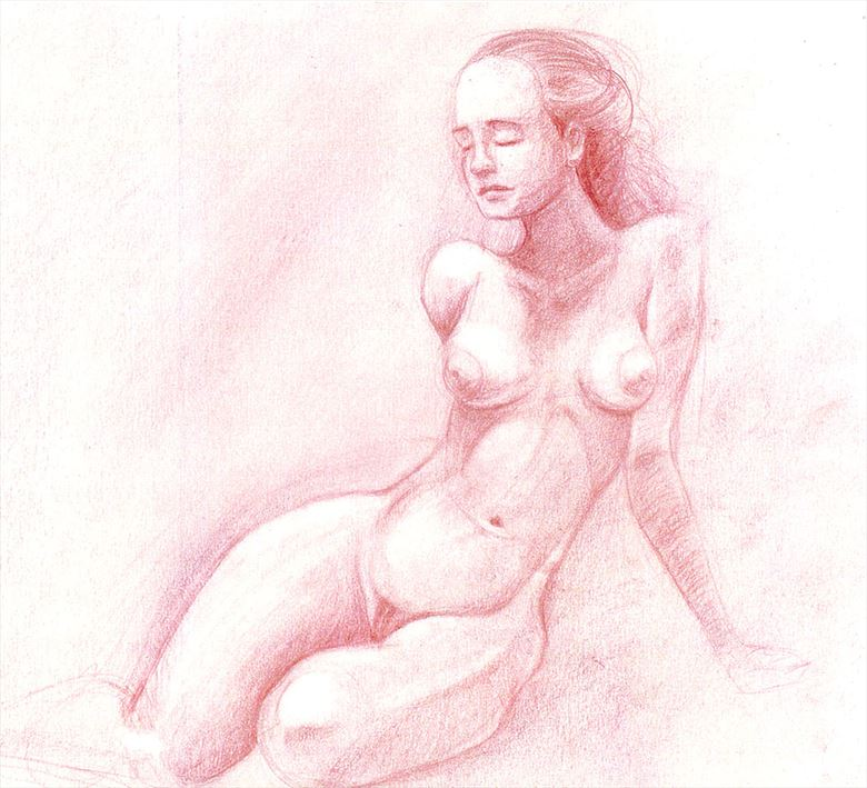 Figure study in red Artistic Nude Artwork by Artist NKozis