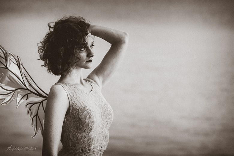 Forlorn Fairy in Sepia Vintage Style Photo by Photographer Alanamous