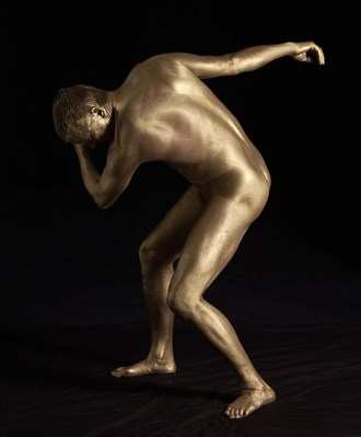 Golden Discus Artistic Nude Artwork by Model Manofhands