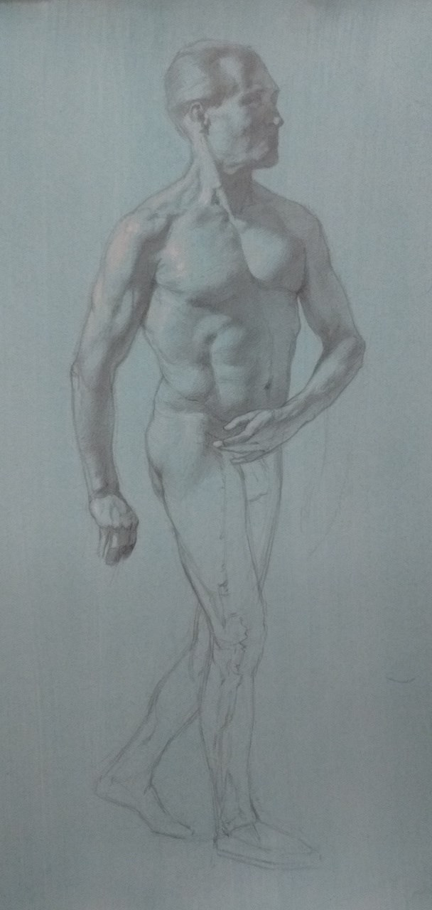 Graphite drawing, work in progress Figure Study Artwork by Model Michael SCM Model
