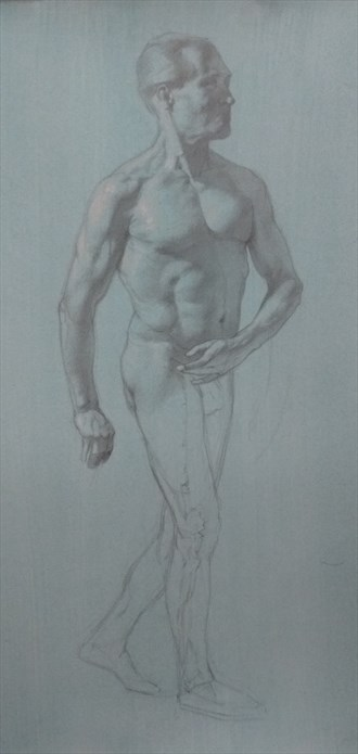 Graphite drawing, work in progress Figure Study Artwork by Model Michael SCM Model