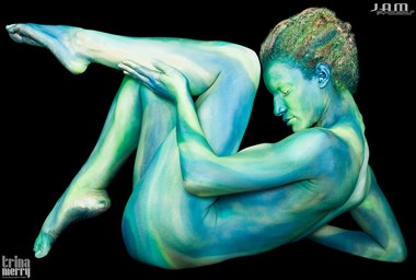 Green Abstract Artistic Nude Artwork by Model Syren Lestat