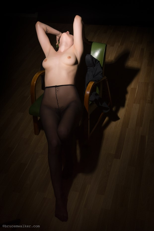 Green Chair Artistic Nude Artwork by Model Dorrie Mack