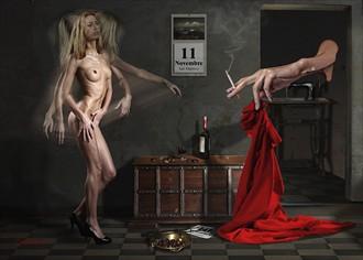 Il Drappo Rosso Artistic Nude Artwork by Artist Contesaia