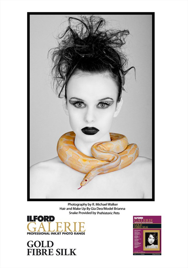Ilford Ad using my work. Expressive Portrait Photo by Photographer R. Michael Walker