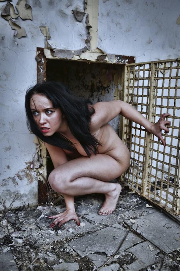 Implied Nude Horror Artwork by Model Jennifer Evie