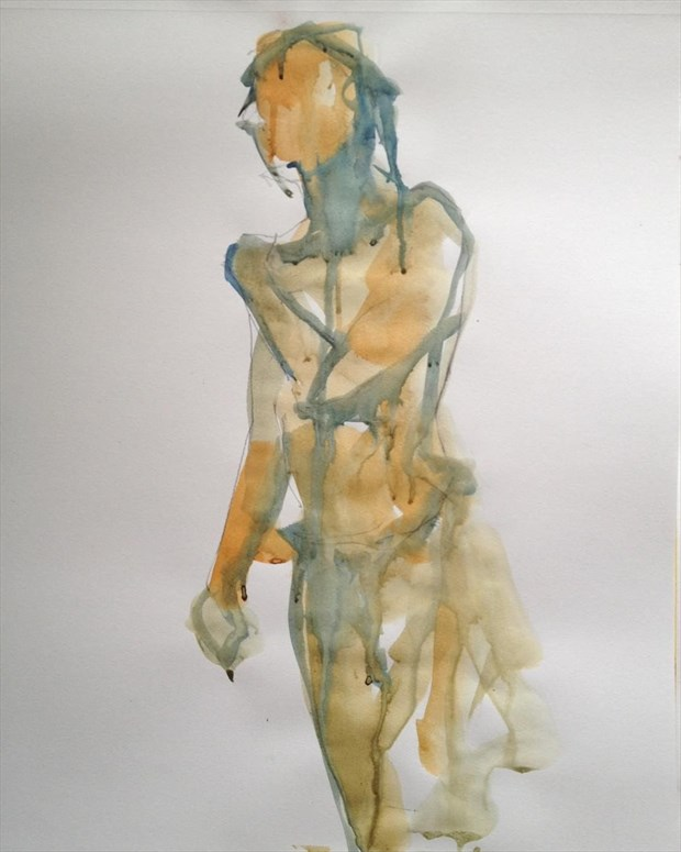 Ink drawing by Dana Weigand Artistic Nude Artwork by Model Michael SCM Model