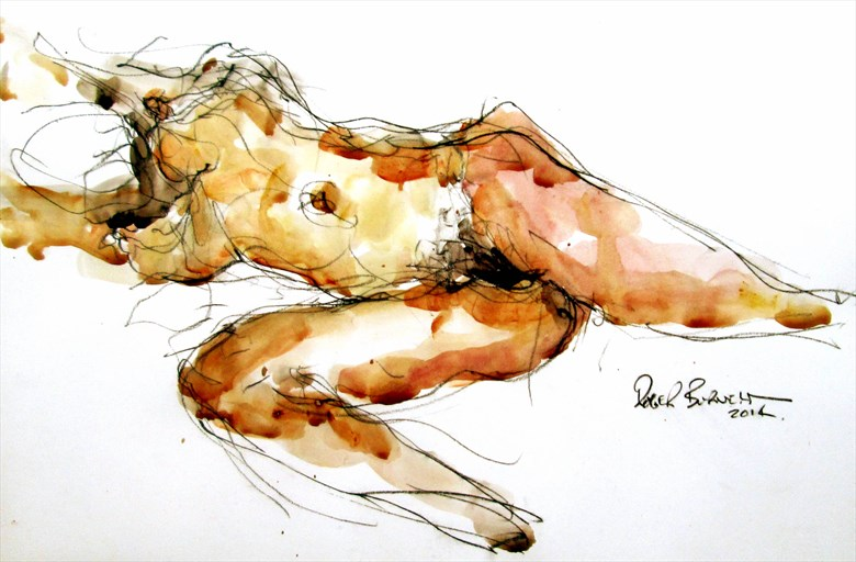 Jessica stretching Artistic Nude Artwork by Artist Roger Burnett