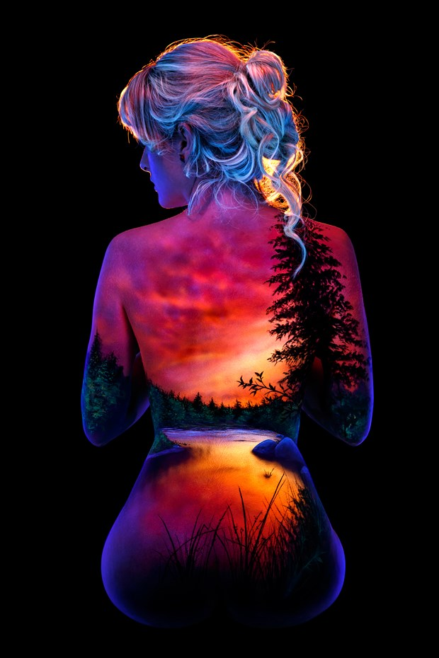 Jewel's River Sunset Body Painting Photo by Photographer Under Black Light
