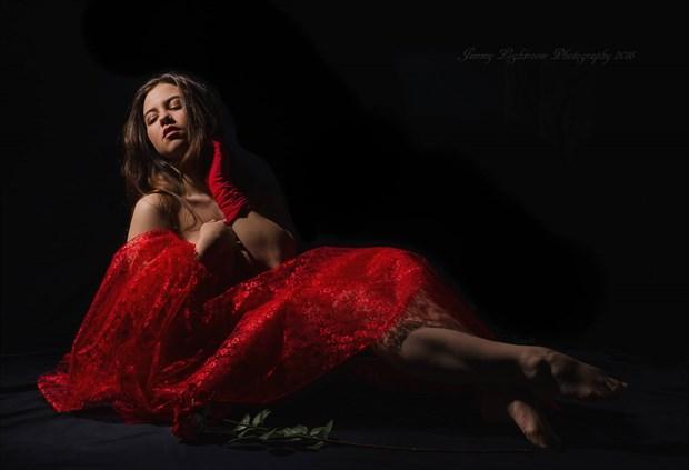 Lady in Red Sensual Photo by Model Charlotte Dell'Acqua
