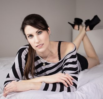 Laying striped shirt 1 Glamour Photo by Model Xak