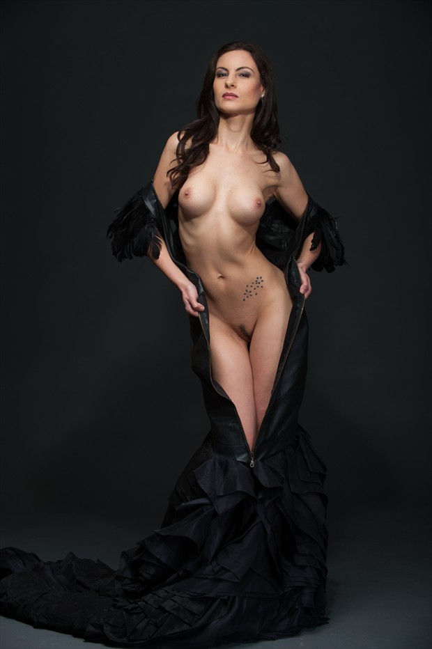 Leather & feather dress Artistic Nude Photo by Model Sakura Star