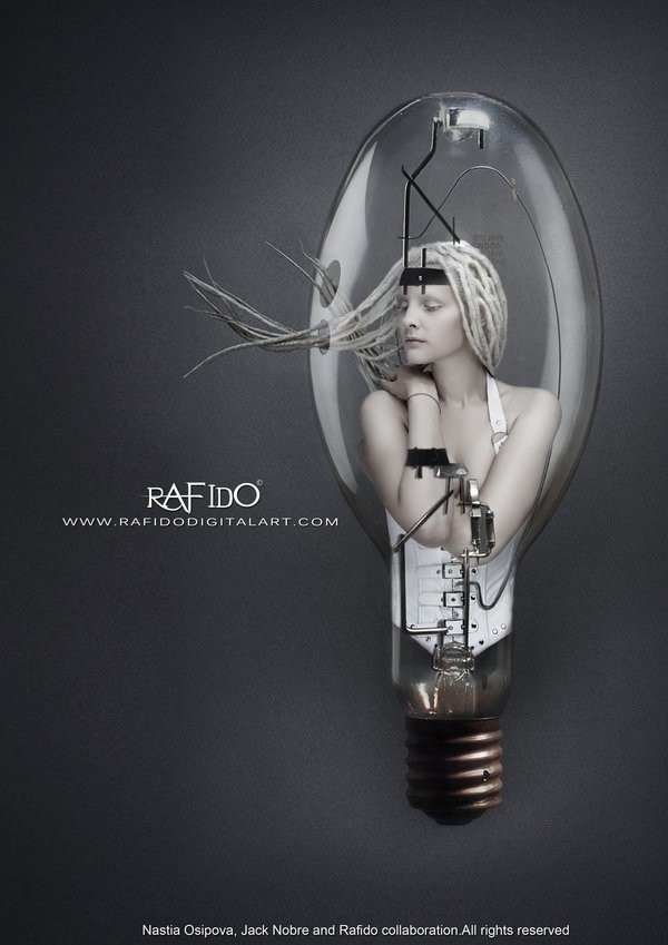 Lightbulb Photo Manipulation Photo by Artist RAFIDO