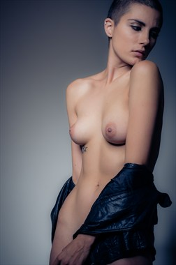 Little Black Leather Jacket Artistic Nude Photo by Photographer Myarchn Photography