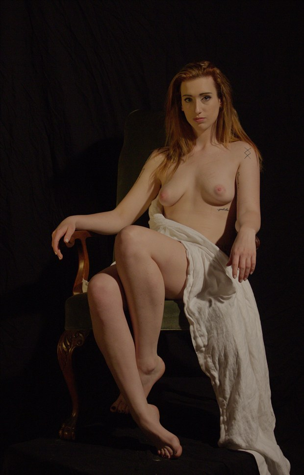 Loren Seated nude with Drape Artistic Nude Photo by Photographer Fred Scholpp Photo