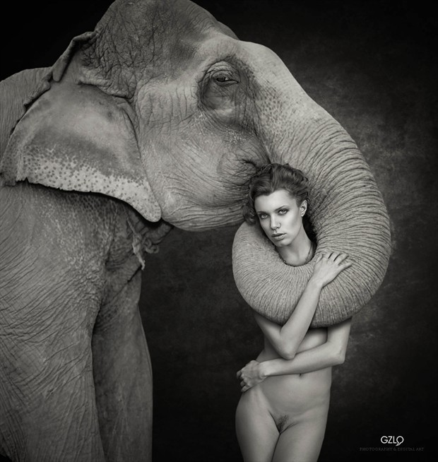 Loving Elephant Artistic Nude Photo by Artist GonZaLo Villar