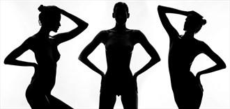 Low key Triptych Artistic Nude Photo by Photographer Paul Ekert