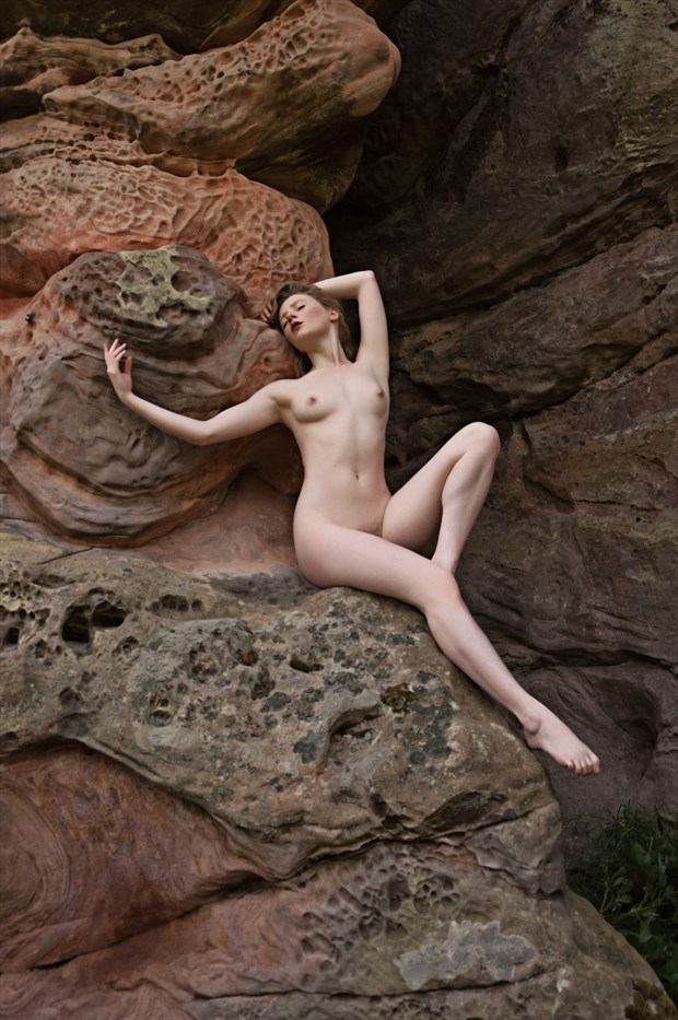 Lulu and The Rock Artistic Nude Photo by Photographer Calandra Images