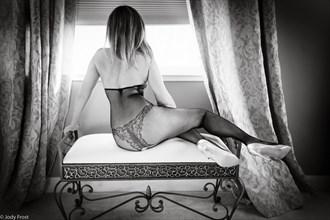 Lynn at the window in Fishnet body. Lingerie Photo by Photographer jody frost