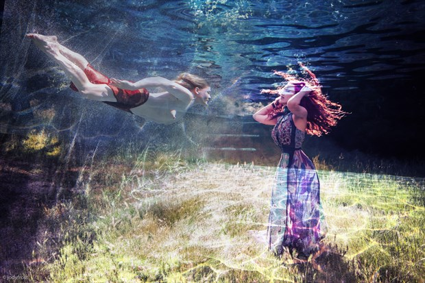 M and E in the Pool Photo Manipulation Photo by Photographer jody frost