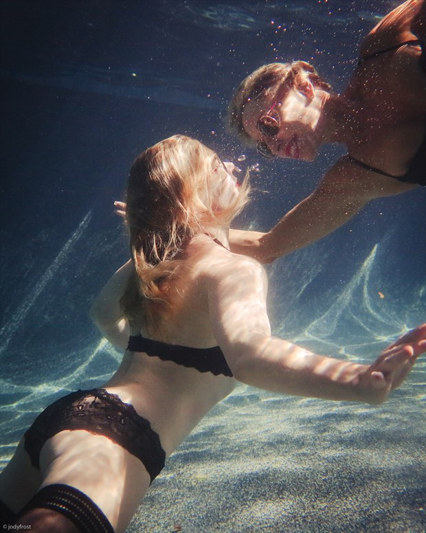 Maia and Me in the Pool Lingerie Photo by Photographer jody frost