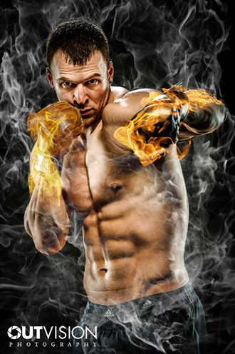 Man on fire Studio Lighting Artwork by Photographer OutVision