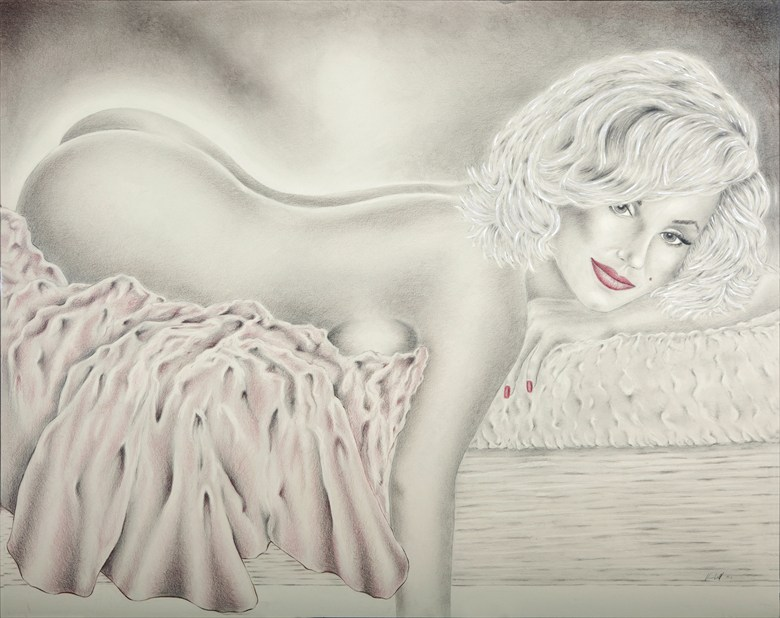 Marilyn Monroe Reclining Artistic Nude Artwork by Artist Vincent_Wolff_Art