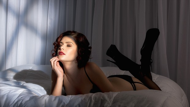 Mary On Bed Lingerie Photo by Photographer Phil O%60Donoghue