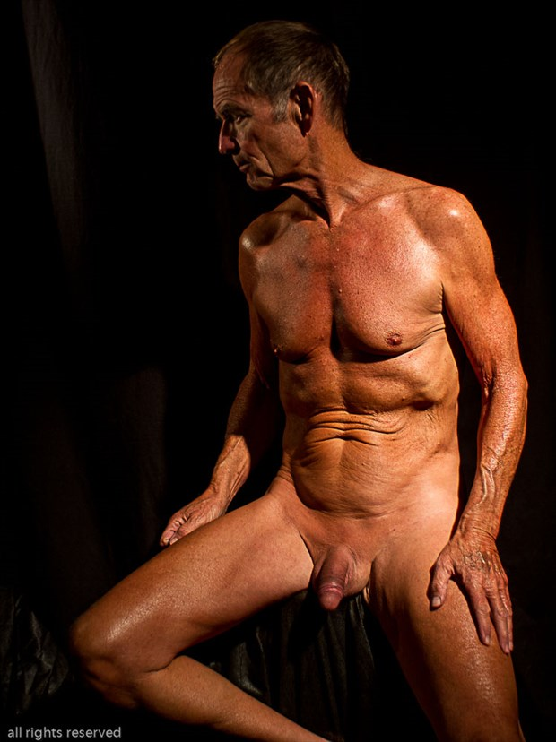 Mature Seated Twist Right Lone Pose Artistic Nude Photo by Model John Collins El Paso TX