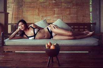 Miss K relaxing in Bali Lingerie Photo by Photographer EmmanuelVivier