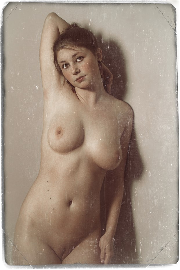 Molly Nude homage to the French Postcard Artistic Nude Photo by Photographer Risen Phoenix