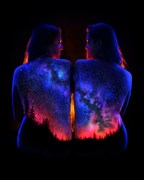 Mountain Milkyway Body Painting Artwork by Photographer Under Black Light