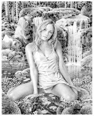 Mya at the Falls Painting or Drawing Artwork by Artist theNatureArtist